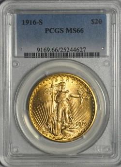 1916-Sセントゴーデンズ金貨PCGS MS66