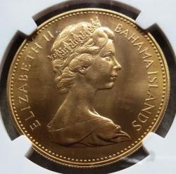 1967年バハマ$100金貨 NGC MS64