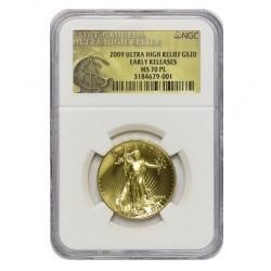 存在数わずか11枚 2009年 米国 ウルトラハイリリーフ金貨 NGC MS70PL Early Release