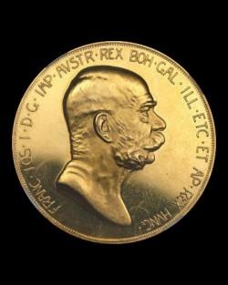1908年オーストリア100コロナ雲上の女神金貨 NGC PR62