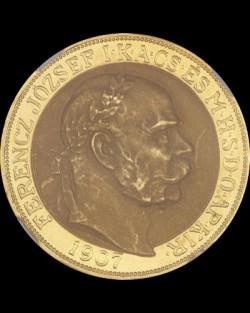1907ハンガリー・フランツ・ヨーゼフ1世100コロナ金貨NGC PF63