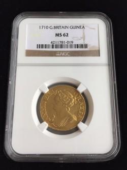 劇レア 最高鑑定 わずか3枚 1710年英国アン女王1ギニー金貨 NGC MS62