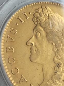 1687年英国ジェームス2世5ギニー金貨 PCGS AU50
