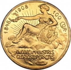 1908年オーストリア100コロナ金貨 雲上の女神 PCGS MS62