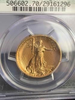 過去これ1枚しか見たことない 2009年 米国 ウルトラハイリリーフ金貨 PCGS MS70PL グリーン・ドイリー・レトロ・ラベル