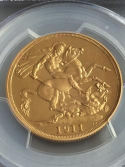 最新の国内相場56万円 1911年英国ジョージ5世2ポンド金貨 PCGS PR64 Cameo(カメオ)