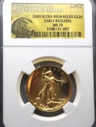 2009年 米国 ウルトラハイリリーフ金貨 NGC MS70 アーリーリリース
