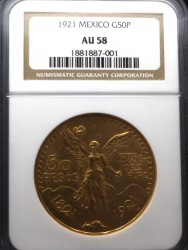 1921年 メキシコ 50ペソ金貨 NGC AU 58