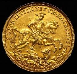 単独一位!! 嵐の中のキリストと使徒 クレムニッツ 1645-90 ハンガリー 5ダカット金貨 NGC AU55
