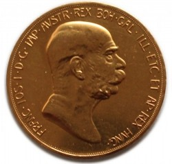 1908年 オーストリア 100コロナ金貨 雲上の女神 AU+以上