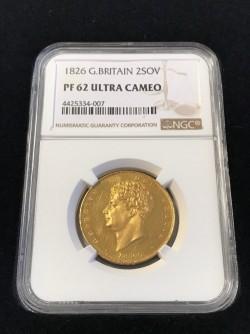 将来性の高いウルトラカメオの希少な一枚 1826年英国ジョージ4世2ポンドプルーフ金貨 NGC PF62 Ultra Cameo