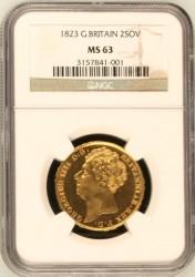 13番目のレア金貨 1823年 英国 ジョージ4世 2ポンド金貨 MS63