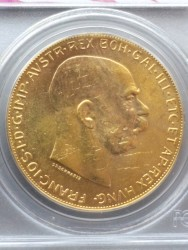 1915年 オーストリア 100コロナ金貨 ワールトドレードセンターリカバリー PCGS