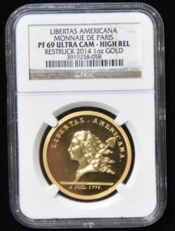 2014年 (1781年) アメリカ独立記念メダル 復刻版 1オンスハイリリーフゴールドメダル NGC PF69UC