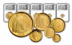 最高鑑定 最初の50枚 2016年 英国 プレミアム ブリタニア 金貨5枚セット NGC PF70UC