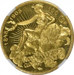 1908年 オーストリア 100コロナプルーフ金貨 雲上の女神 NGC PF62 CAMEO