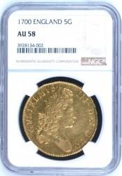 3番目! 1700年 イギリス ウィリアム3世 5ギニー金貨 NGC AU58