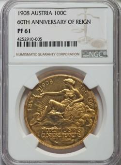 1月27日に抽選!1908年 オーストリア 100コロナプルーフ金貨 雲上の女神 NGC PR61