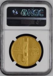 最高鑑定 3枚 1923年R イタリア 100リレ マットプルーフ金貨 ファシストアニバーサリー NGC PF63 Matte