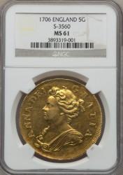 1706年 イギリス アン女王 5ギニー金貨 NGC MS61