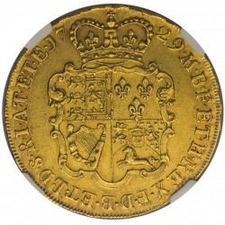 NGCで3番目 1729年 英国 ジョージ2世 5ギニー金貨 NGC AU55