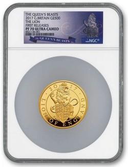 存在2枚のみ! 2017年英国 クイーンズ・ビースト - 英国のライオン 5オンスプルーフ金貨 NGC PF70UC First Release