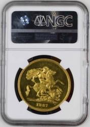 値下げしました 発行わずか797枚! 1887年 英国 ヴィクトリア ジュビリー 5ポンドプルーフ金貨 NGC PF61 CAMEO