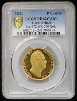 1831年 英国 パターンクラウン貨 金打ち PCGS PR62CAM