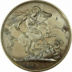 最高鑑定 1893年 英国 ヴィクトリア女王 プルーフクラウン銀貨 PCGS PR67