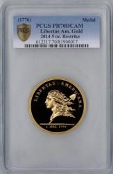 1776年 (2014年リストライク) Libertas Americana 5オンス大型金貨 PCGS PR70DCAM