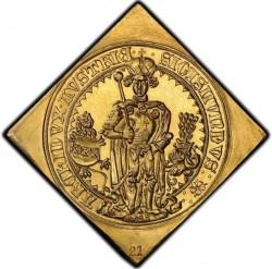 25枚の芸術品! 1486年 (1953年リストライク)オーストリア 16ダカット大型ゴールドメダル PCGS MS65