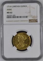 4番目の高鑑定品! 1714年 英国 アン女王 ギニー金貨 NGC MS62