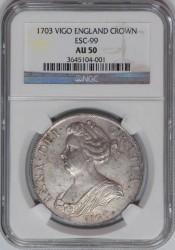 美しい 1703年 英国 アン女王 VIGO クラウン銀貨 NGC AU50