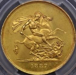 16番目の高鑑定 1887年 英国 ヴィクトリア女王5ポンド金貨 PCGS MS64
