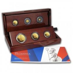 <FONT color=blue>大特価!</FONT>激レア 2014年 英国 プレミアム・ブリタニア6枚金貨セット