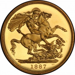 4番目 Deep Cameo 1887年 英国 ヴィクトリア女王 2ポンドプルーフ金貨 PCGS PR64 Deep Cameo