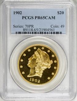 最高鑑定 1902年 米国 $20 ダブルイーグル プルーフ金貨 PCGS PR65 CAMEO