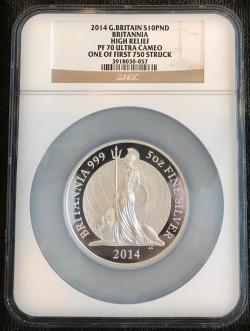 2014年 英国 プレミアム・ブリタニア £10 5オンスプルーフ銀貨 NGC PF70 Ultra Cameo