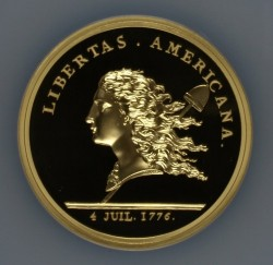 <FONT color=blue>大特価!</FONT>1776年 (2014年リストライク) Libertas Americana 5オンス大型金貨 NGC PF70 Ultra Cameo High Relief