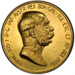 プルーフライクな一枚 1908年オーストリア 100コロナ金貨 PCGS MS61