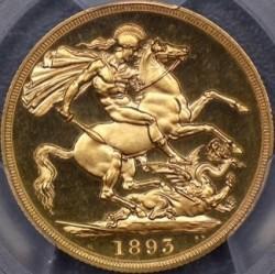 4番目でDeep Cameoです。飛びつく価格 1893年 英国 ヴィクトリア女王 オールドヘッド 2ポンドプルーフ金貨 PCGS PR65DCAM