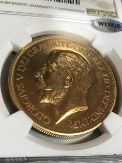 写真追加 格安! 1911年 英国 ジョージ5世5ポンド金貨 NGC PF62