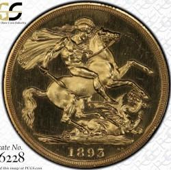 <FONT color=blue> 大特価!</FONT> 1893年 英国 ヴィクトリア女王 オールドヘッド 2ポンドプルーフ金貨 PCGS PR63DCAM
