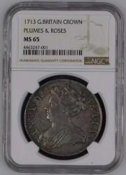 アン女王クラウン銀貨 最高鑑定 1713年 英国 アン女王 クラウン銀貨 NGC MS65