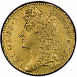 単独鑑定2位 1688年 英国 ジェームス2世 5ギニー金貨 PCGS AU55