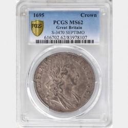 1695年 英国 ウィリアム3世 クラウン銀貨 PCGS MS62