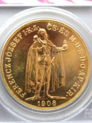 1908年 ハンガリー フランツヨーゼフ立像 100コロナ WTC リカバリー PCGS