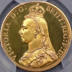 ゲリラ割引 1887年 英国 ヴィクトリア女王 2ポンドプルーフ金貨 PCGS PR61 CAMEO