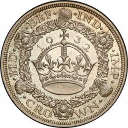 最高鑑定 レア 1932年 英国 ジョージ5世 プルーフクラウン銀貨 PCGS PR65