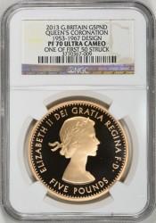 最初の50枚鋳造分 最高鑑定 2013年 5ポンド金貨 QUEENS CORONATION 女王戴冠式 プルーフ金貨4枚セット NGC PF70UC